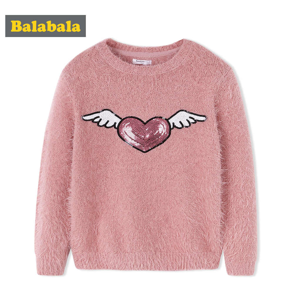 Children Girls Sweater Autumn Winter 2018 New Sweet Feather Yarn Sweater Youthful Lively Girl Bottoming Sweaters For Kids