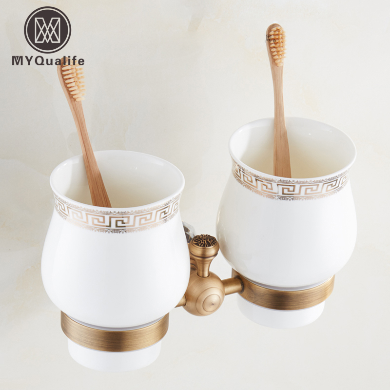 European Brass Antique with Crystal Bathroom Cup & Tumbler Holders Ceramic Cup Wall Mounted Free Shipping free shipping brass antique bronze double tumbler holder cup