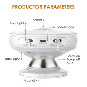 Image 3 - 360 grad Rotierenden Wiederaufladbare LED Nacht Licht Sicherheit Wand lampe Motion Sensor licht für Schlafzimmer Treppen Küche wc lichter