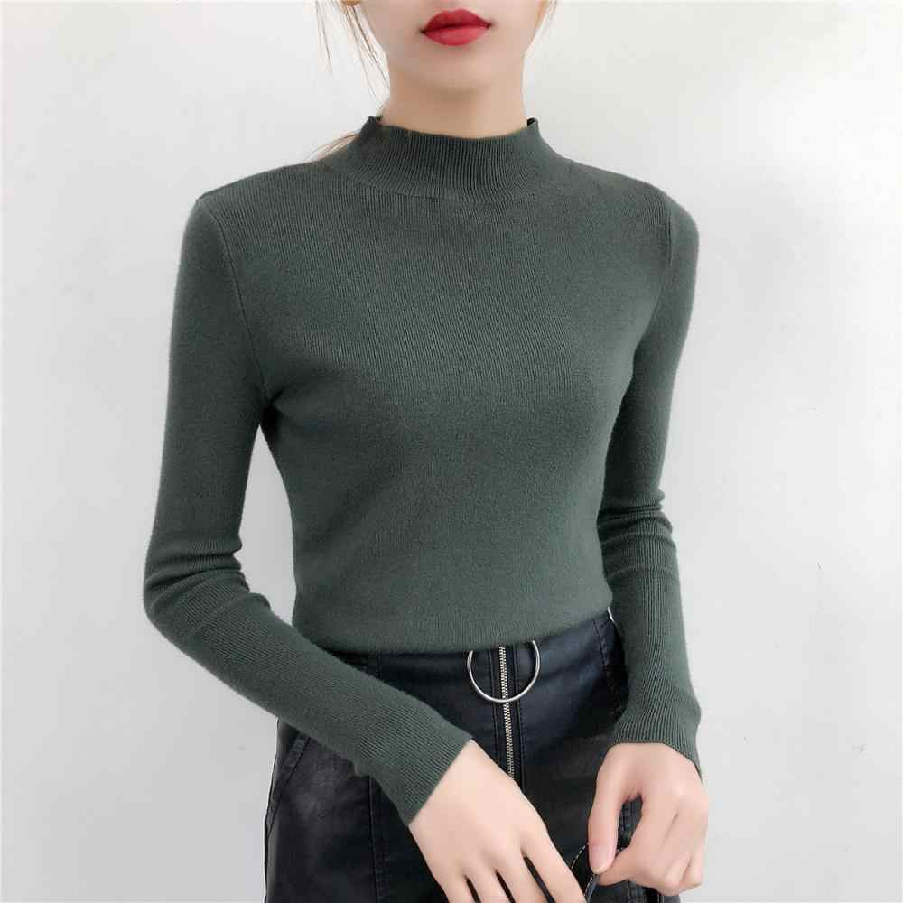 AOSSVIAO Sweater Female 2019 Autumn Winter Velvet Surface Knitted Women Sweater Turtleneck Pullover Tricot Jumper Pull Femme
