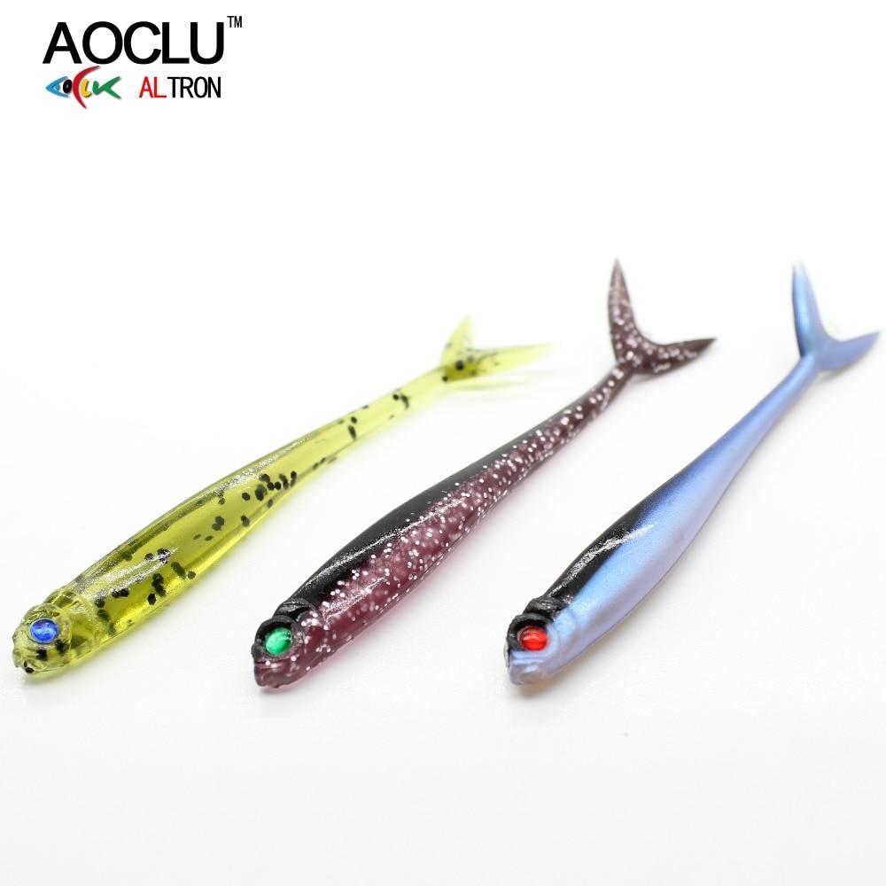 AOCLU Split Tailed Fishing Lure 7.5cm 1.7g 10pcs/lot Artificial Soft Bait Fishing Bait Swimbait Fishing Fish Shape Worm