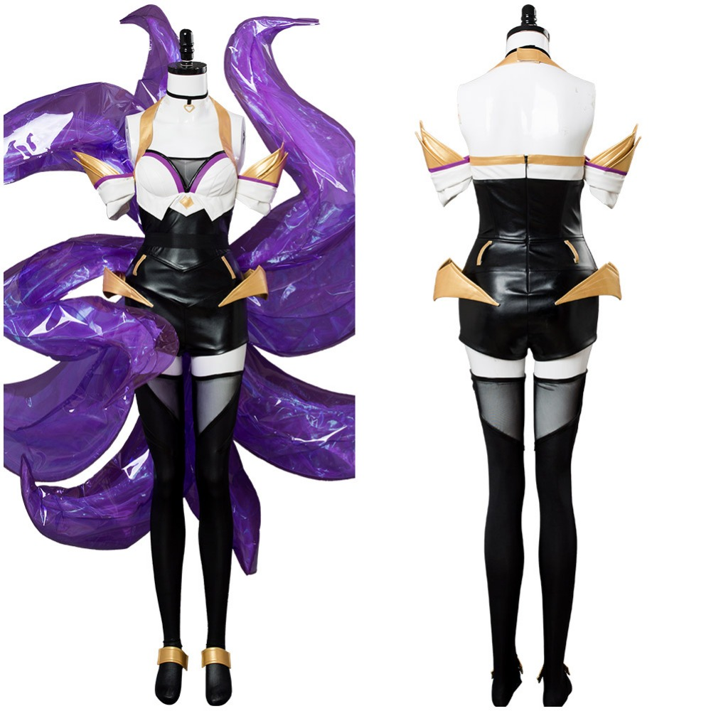 KDA Cosplay Costume K/DA Ahri Cosplay Costume Game Nine-Tailed Fox Ahri K/DA Outfit LOL KDA Group Women Costume Halloween