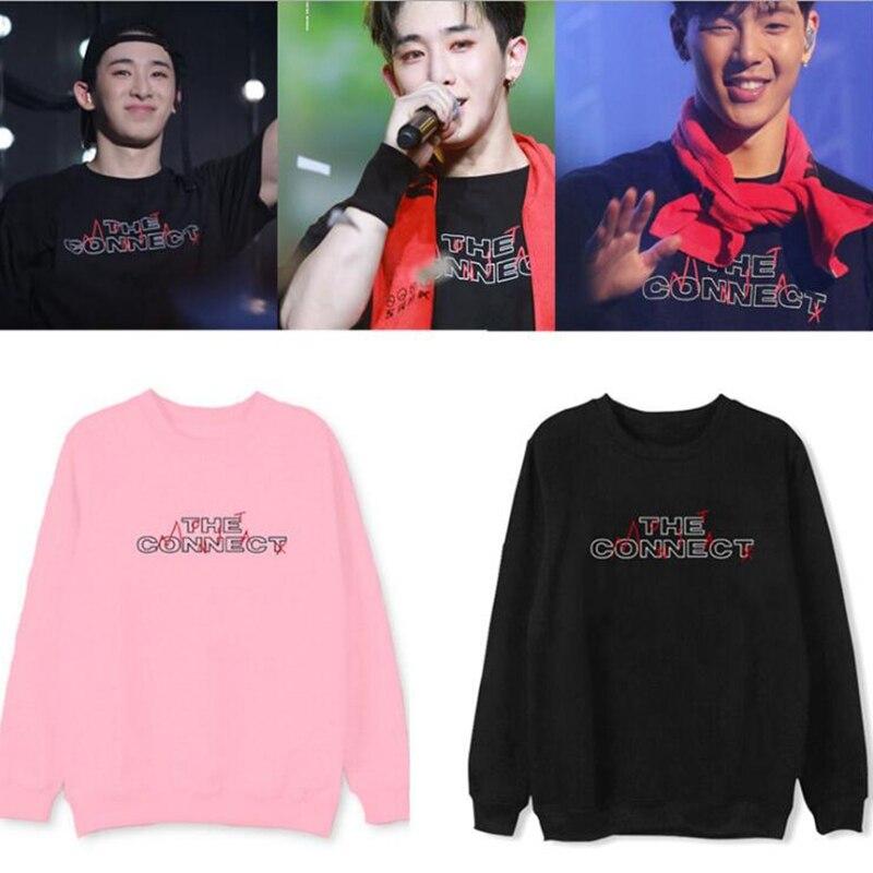 Men Tops KPOP Fashion MONSTA X Album The connect Printed Letters Hoodies Pullovers long sleeve Sweatshirts streetwear