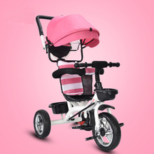 Baby Kids Reverse Toddler Tricycle Bike Trikes Ride-On Toys Stroller Prams Car Seats Sleeping With 360 Degree Rotating Chair