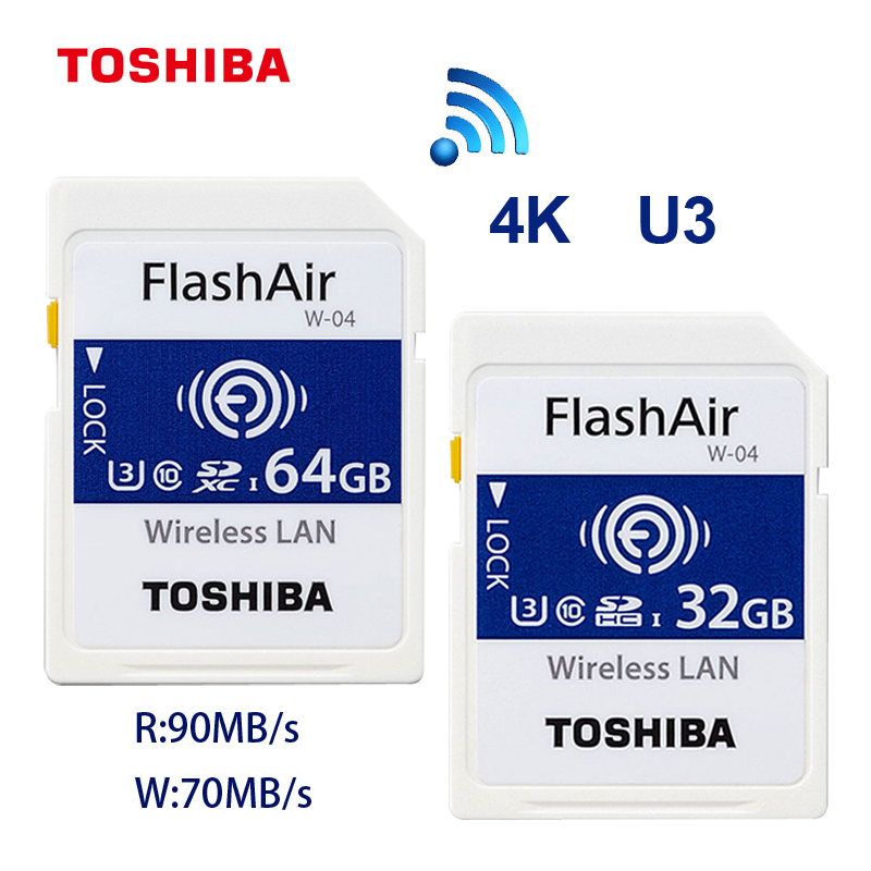 TOSHIBA FlashAir W-03 32GB 16GB SDHC Wireless W-04 64GB SDXC WiFi SD Card UHS-I Class 10 U3 Flash Memory Card For Digital Camera