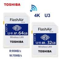 TOSHIBA FlashAir W 03 32GB 16GB SDHC Wireless W 04 64GB SDXC WiFi SD Card UHS I Class 10 U3 Flash Memory Card For Digital Camera