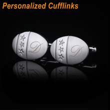 QiQiWu Personalized Engraved Oval Cufflinks For Men Wedding Stars Gifts Business Cuffs Customized Shirt Cuff links Groomsmen