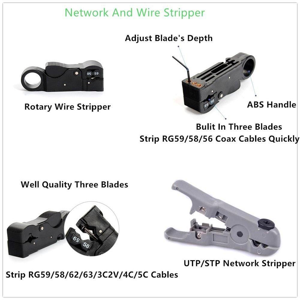 11pcs Set Rj45 Rj11 Rj12 Cat5 Cat5e Portable Lan Network Repair Tool Plug Wiring 4 X 8p8c Cable Connectors 4x 6p Phone Connectors4x K1 Connection Terminal Crystal Head Connector Sheath 1 Box