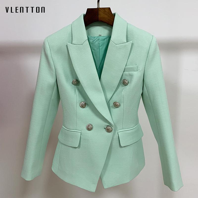 High Quality New 2019 Designer Green Office Lady Blazer Women's Chic Lion Buttons Double Breasted Blazers Jacket Female Outwear