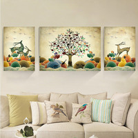 D SH 3 Panels Full Painting Diamond Plant Animals Elks Diamond Painting Reindeer Diamond Embroidery Paint By Numbers Sweet Home