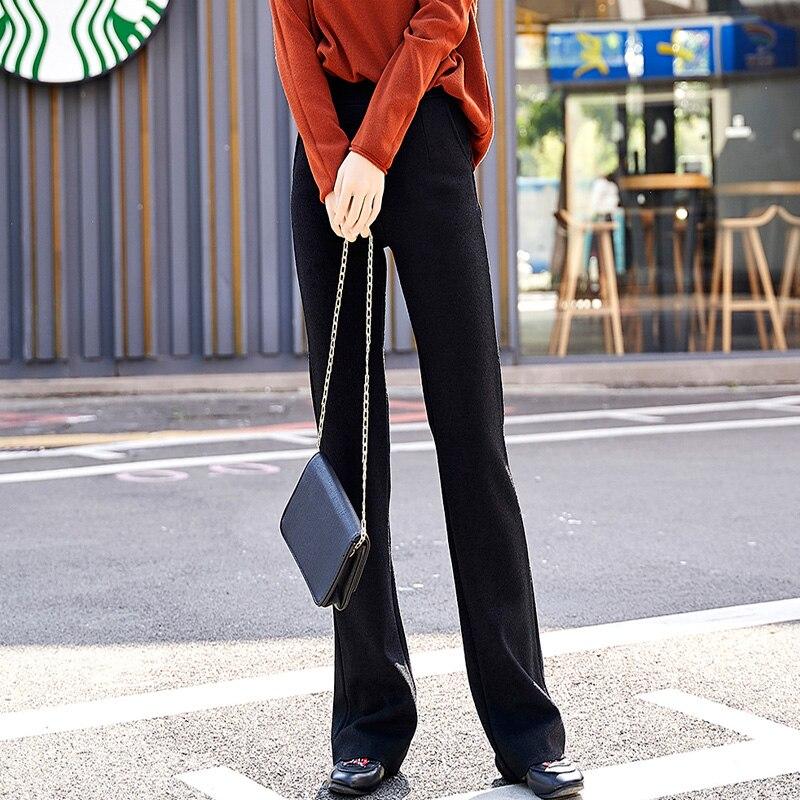 Longitud Completa Las Otoño caqui azul Negro De Color Mujeres Acrmrac Slim Pantalones Sólido Primavera 8139 Alta Rectos Cintura q7nOP0w