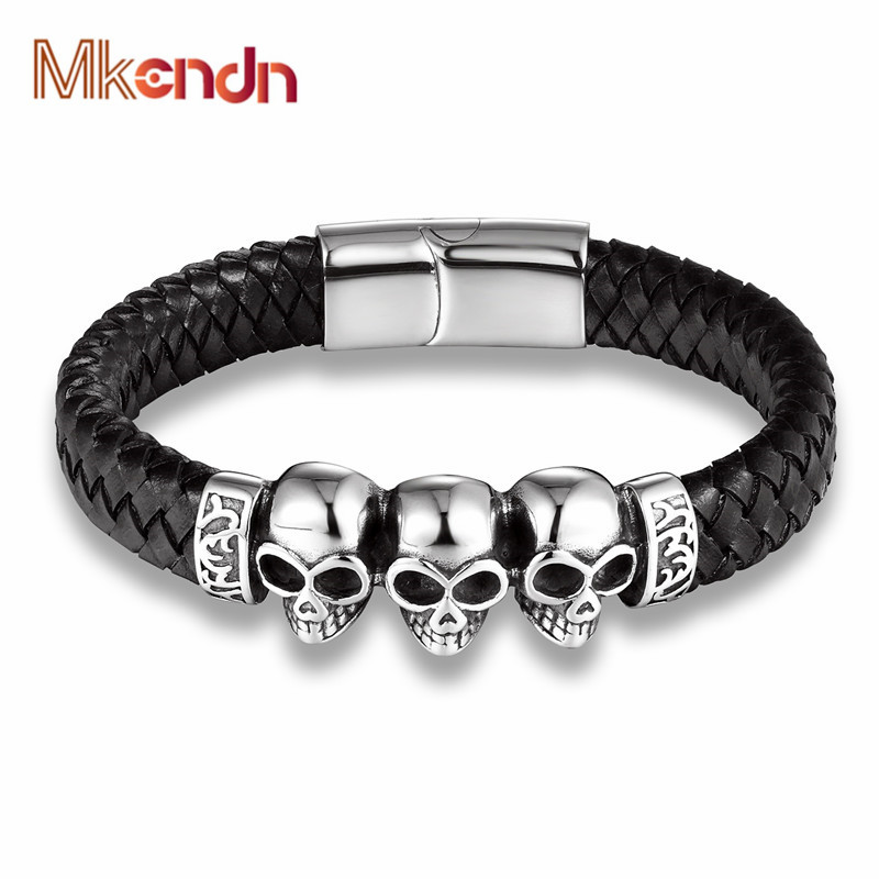 MKENDN Fashion Braided Leather Bracelets Skull Bracelet Punk Wrap Bracelet Stainless Steel Magnetic Buckle Fashion Bangles anchor pu leather braided bracelet