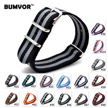 BUMVOR 18 20 22 mm Nato Strap Watchband Nylon Watch Straps Wristwatch Bands for Watch Stainless Buckle 20-39(China)