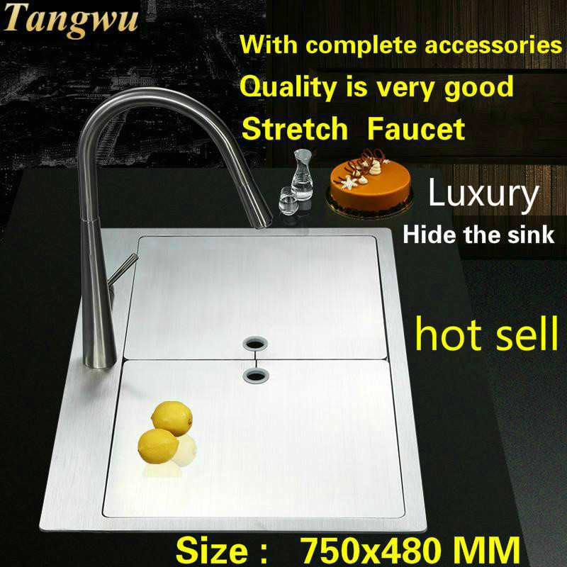 Free Shipping Standard Luxurious Kitchen Manual Sink Single Trough Durable Food-grade 304 Stainless Steel  Hot Sell 75x48x25  CM