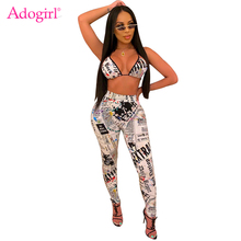 Adogirl Newspaper Print Women Sexy Two Piece Set Backless Bra Top + Pencil Pants Night Club Party Outfits Female Fashion Suits
