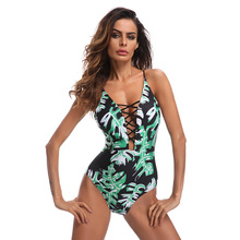 2018 New Sexy One Piece Swimsuit Women Swimwear Green Leaf Bodysuit Strap Bandage Cut Out Beach Bathing Suits Monokini Swim Suit