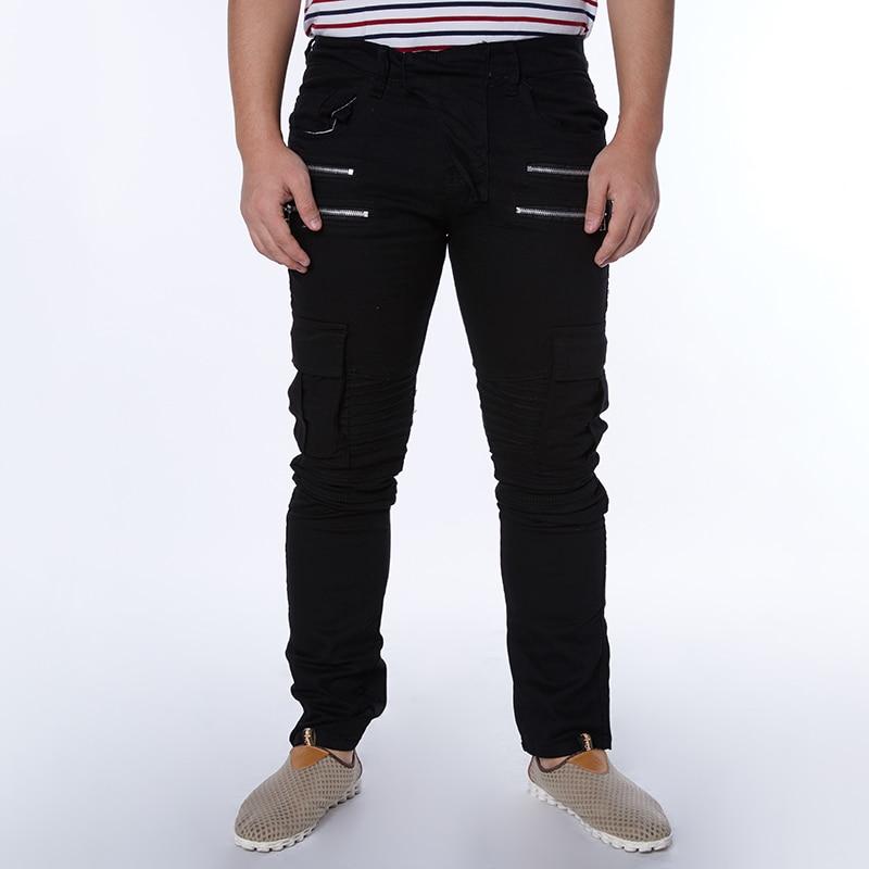 2016 New Fashionable Clothing For Men Causal Solid Men Biker Zipper Jeans Slim Denim Pencil ...