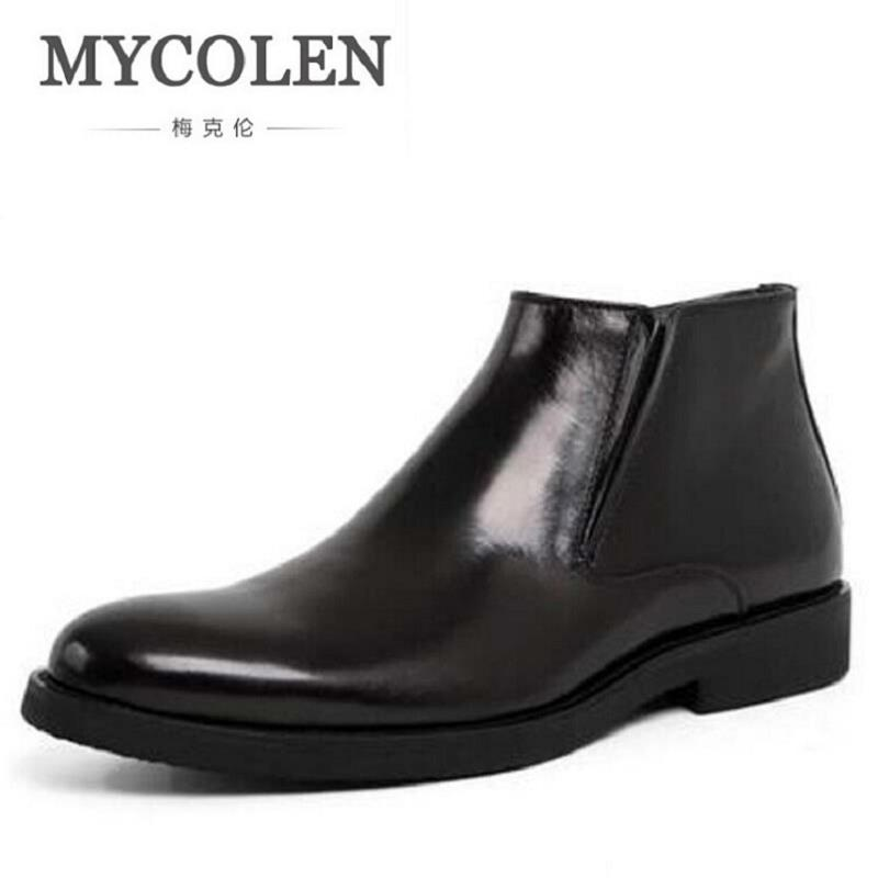 MYCOLEN Black / Brown Winter Mens Ankle Boots Genuine Leather Dress Shoes Mens Safety Shoes Men Business Chelsea Boots fashion black brown oxfords shoes mens boots genuine leather shoes mens dress boots business mens ankle boots