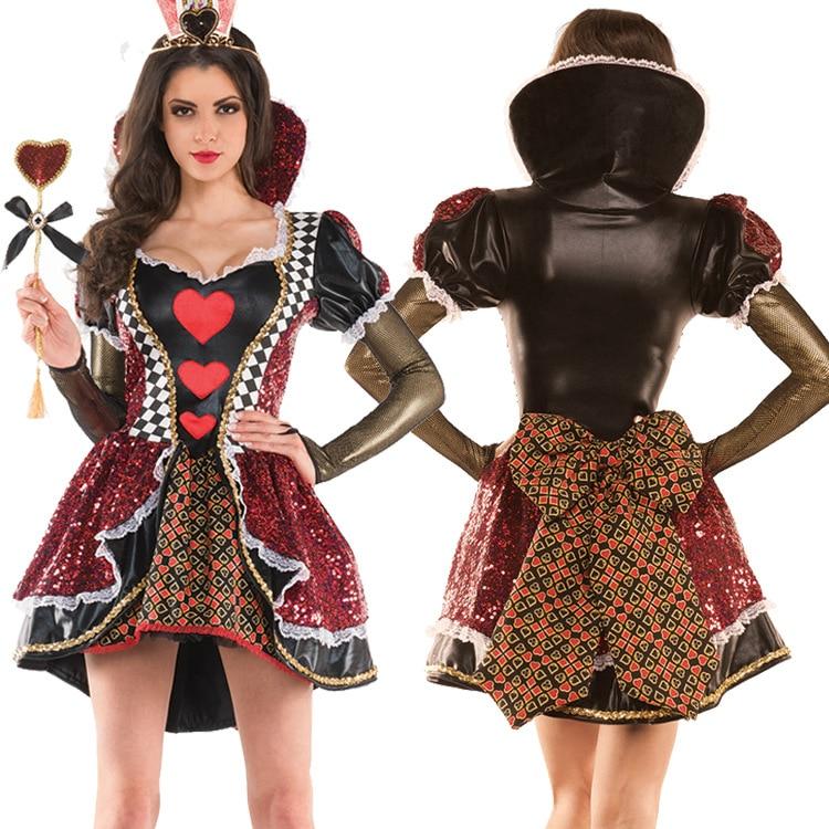 Women s Alice In Wonderland Costume Red Queen of Hearts Costume Fancy Dress for Women Halloween