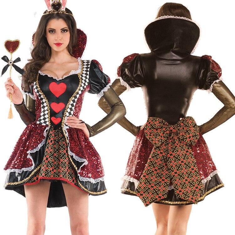 Women's Alice In Wonderland Costume Red Queen of Hearts Costume Fancy Dress for Women Halloween Party Cosplay Costumes Adult