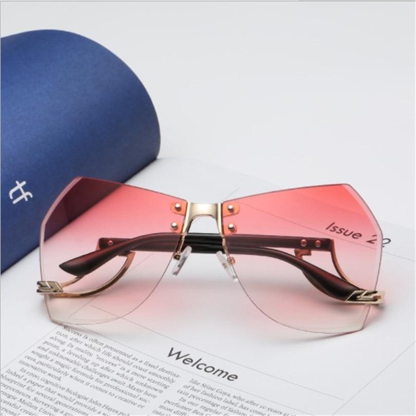 2018 Women's Running Flight Frameless Ocean Sunglasses Europe and America Trendy Glasses Sunglasses 3