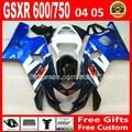 High quality for SUZUKI GSXR 600 750 ABS white blue black fairing kit K4 2004 2005  04 05 gsxr600 RCH gsxr750 fairings kits 693