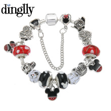 DINGLLY Fashion Mickey Charm Brecelet For Women Brand Bracelet Murano Beads Pulseras(China)