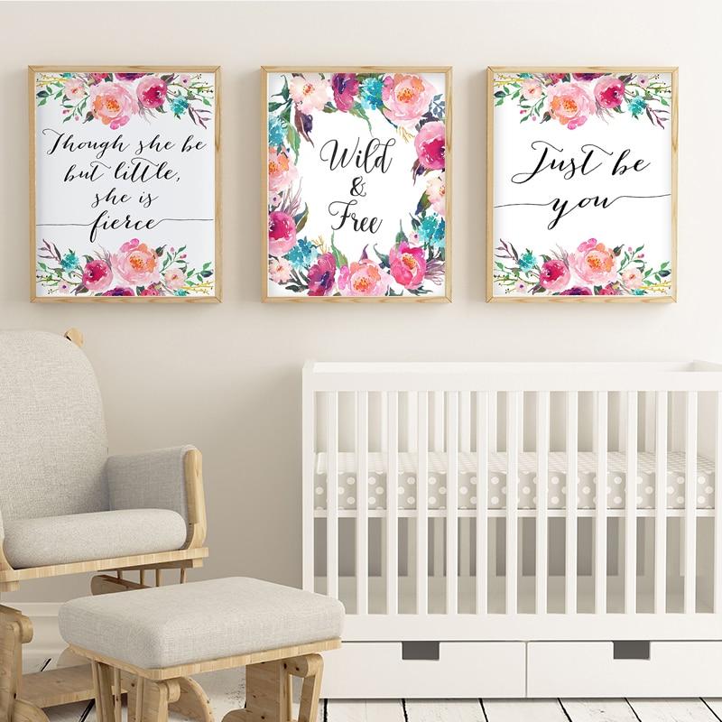 nordic minimalist coral nursery canvas painting floral