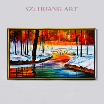 Hand-painted oil painting urban garden impression landscape modern minimalist living room sofa wall decorative oil painting