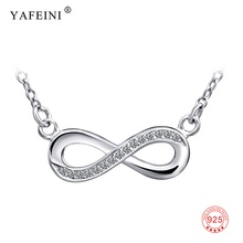 925 Sterling Silver Necklace Women Infinity Love Pendants Necklaces Women Jewelry CZ Crystal Bowknot Collares