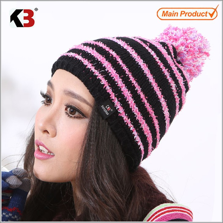 Women\'s Winter Cable Knit Pompom Ski Snowboard Beanie Hat (1)
