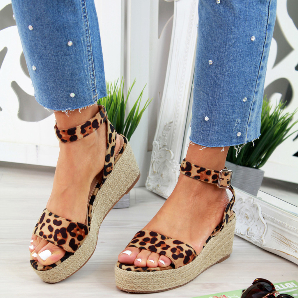 Woven Sandals Strap Platform Wedges Leopard-Shoes Women's Ladies Mujer Ankle-Buckle