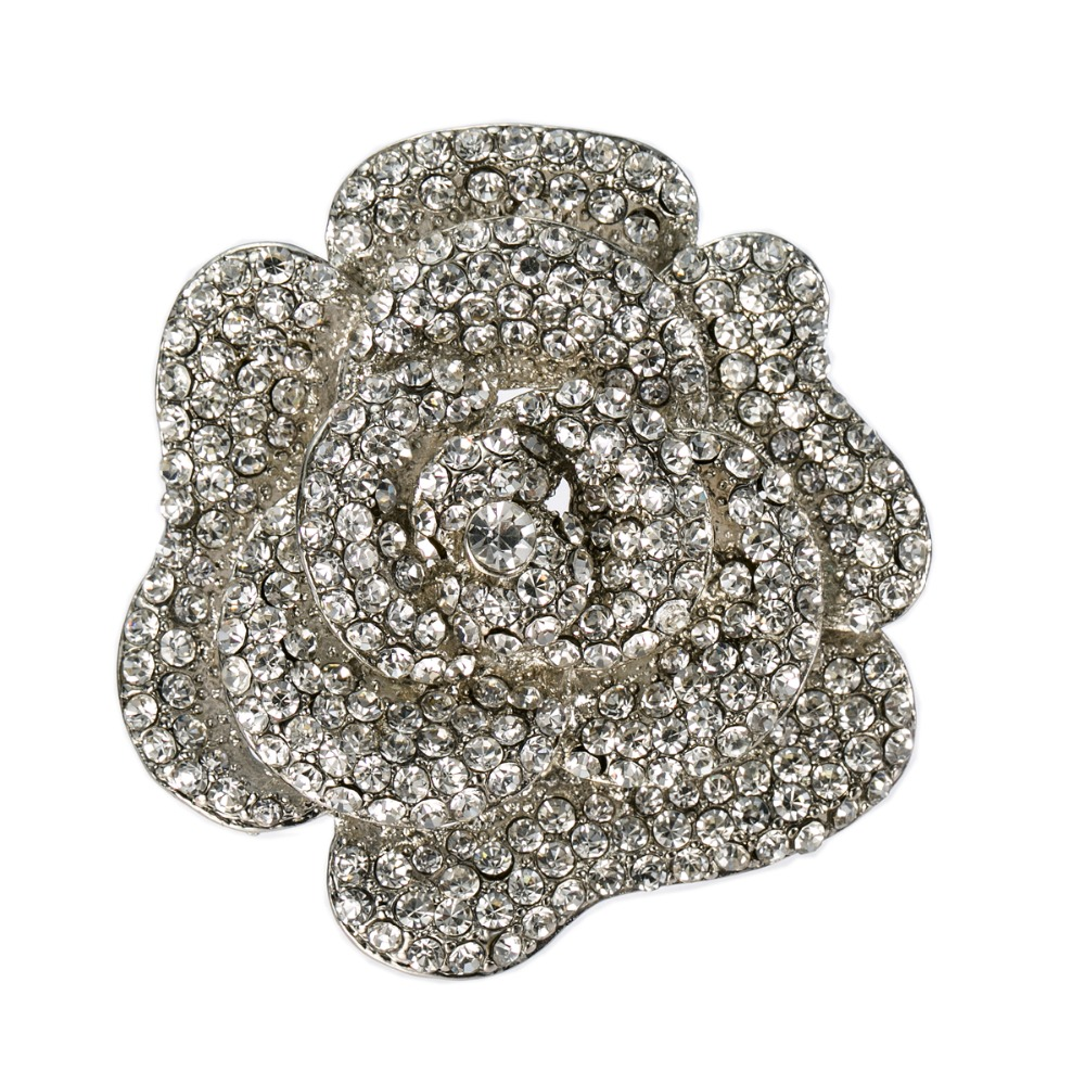 2.4 Sparky Rhinestone Crystal Diamante Rose Flower Wedding Bouquet Brooch