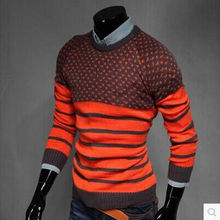 Striped Pullover Mens Knitted Sweater Coat Fashion Decorative Jacquard O-Neck Pullover Sweater Brand Clothing Tops Pull Homme 09