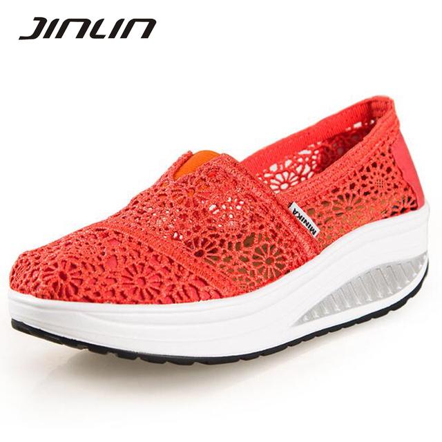 Mulheres sapatos 2017 primavera respirável sapatos de lona casuais sapatos de caminhada ao ar livre mulheres rasa slip-on calcanhar med cunhas sapatos para mulheres