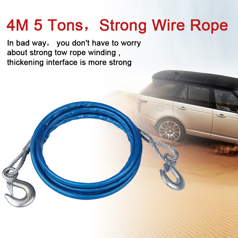 Image 2 - Heavy Duty Tow Ropes 4M 5 Tons Wire Cable High Strength Safety Hook Steel Wire Trailer Car Emergency Towing Rope-in Towing Ropes from Automobiles & Motorcycles