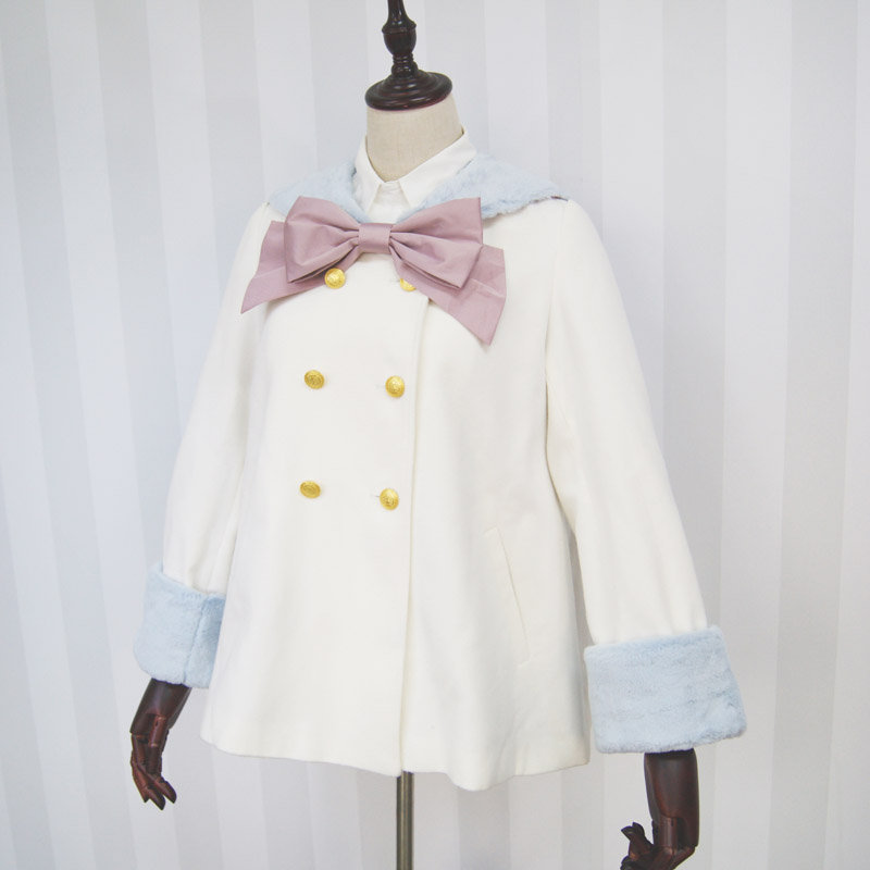 Dolly Delly Harakuku Sailor Collar Double Breasted Kawaii White Color Block Girl s Coat Jacket with