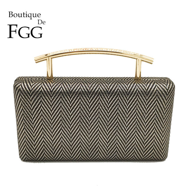 Boutique De FGG Fashion Herringbone Pattern Women Evening & Day Clutches Handbag Metal Top-Handle Ladies Chain Shoulder Tote Bag