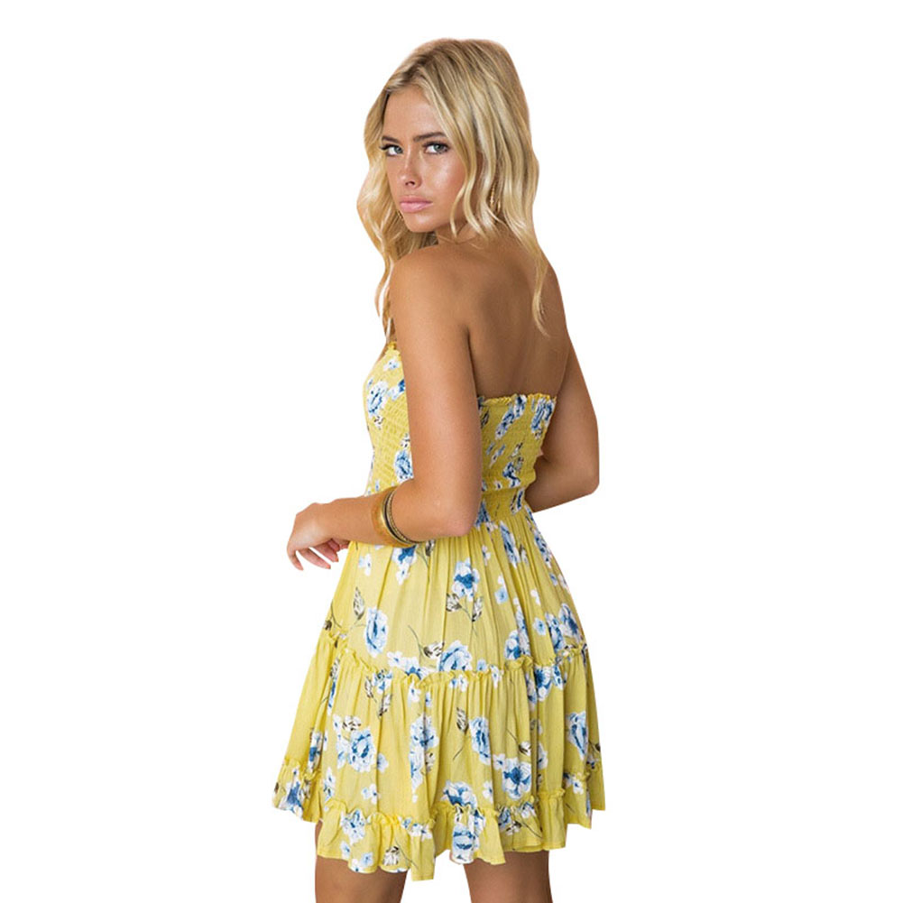 e39ffbc809a Sexy Mini Swing Dress Women Strapless Floral Lemon Print Sundress Ruched  Ruffle Summer Dress 2018 Beach Boho clubwear female-in Dresses from Women s  ...