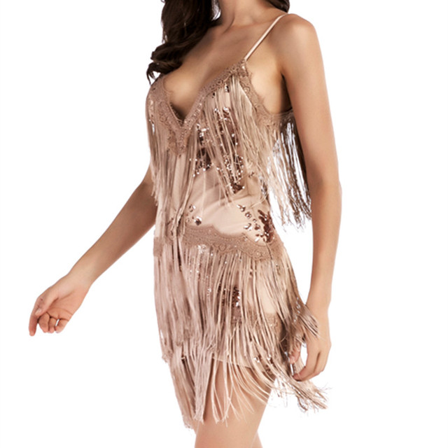 Women Bling Latin Dance Dress Sexy Rainbow Color Club Slip Gradual Sequin  Fringe Dress With Tassel Vestido Robe Paillettes 7e295440a8fe