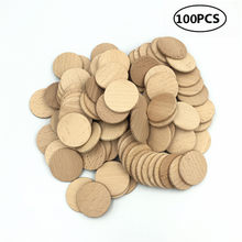 100 Pack 38mm 1.5inch Round Shaped Unfinished Wood Cutout Circles Chips for Board Game Pieces, Arts & Crafts Projects, Ornaments(China)