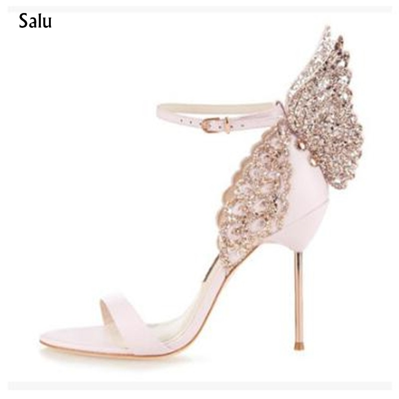 Celebrity Style Butterfly Wings Women High Heels Sandals Sexy Open Toe Ankle Strap Pumps Bridal wedding Party Shoes gold women sandals wedding party high heels cross straps bridal party sandal shoes womans size 11 shoes open toe ankle strap