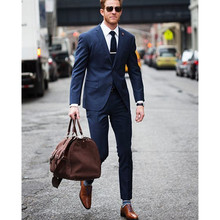 Navy Blue Slim Fit Blazer Masculino Men Suits Custom Made Costume Homme Suit Wedding Groom Tuxedos (jacket+pants) FT78
