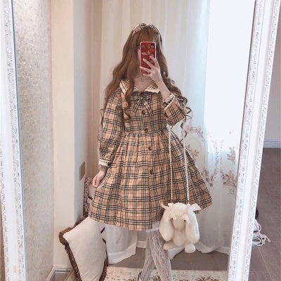 women young Chiffon Lolita student Dress Ruffle SHORT long Sleeve High Waist Classical Princess Dresses Cosplay Costumes Lolitc-in Dresses from Women's Clothing    1