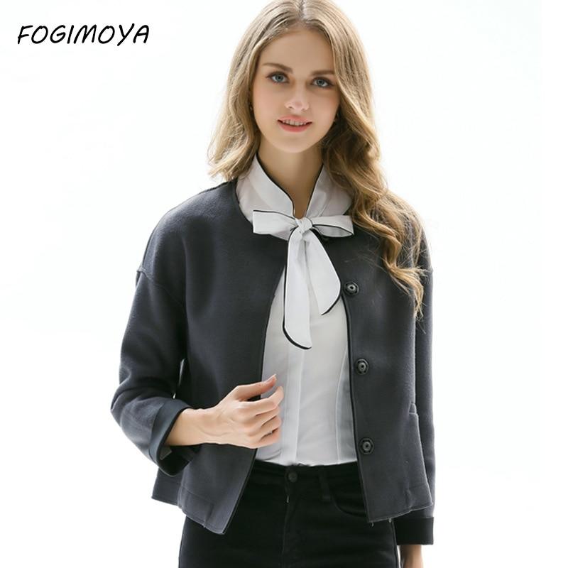 FOGIMOYA Short Jakcet Autumn Winter Women 2017 Solid Wild Slim Short Jacket Coat Solid O Neck Long Sleeve Fashion Coats Outwear