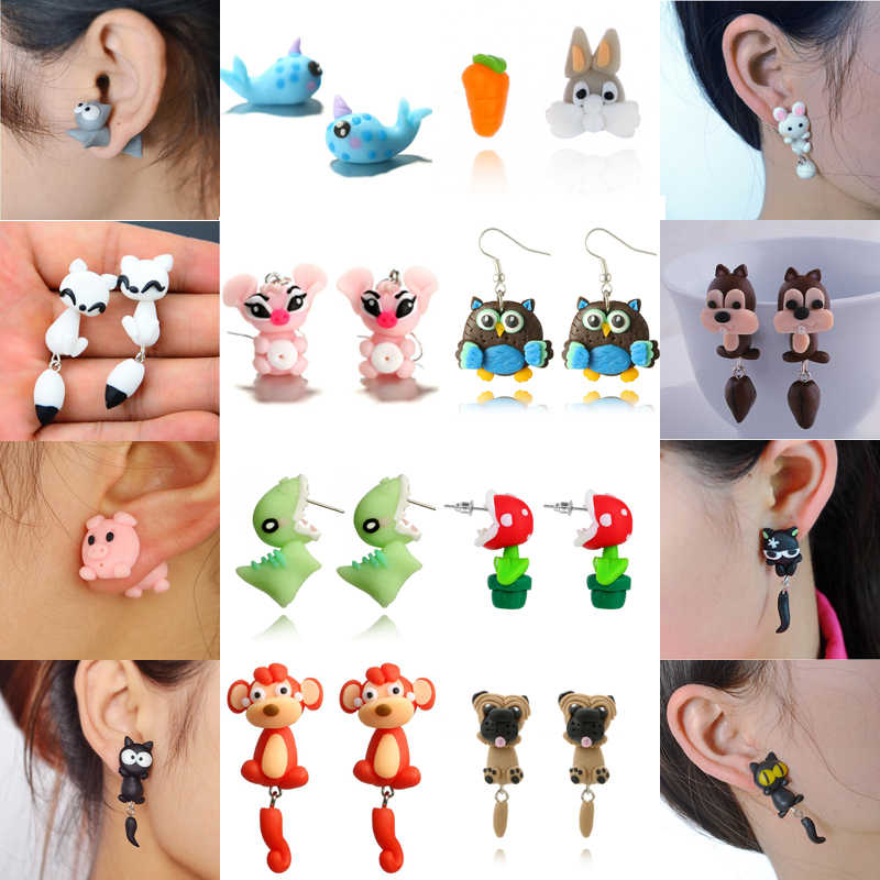Imixlot Fashion Handmade Polymer Mario Clay Fox Plant Stud Earrings for Women 3D Cute Cartoon Animal Earrings Brinco