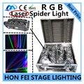 2 шт./Лазер паук свет + кейс RGB перемещение головы лазерного света dmx512 дискотека лампы профессиональной сцене DJ оборудование