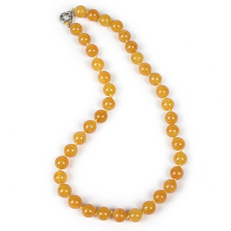 สวยงาม 10 มม.สีเหลืองและแถบยาว Topaz jasper Chalcedony ของขวัญสร้อยคอสำหรับครอบครัวและเพื่อน 18 นิ้ว h32