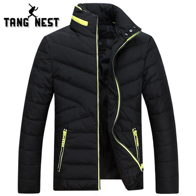Tangnest 2017 homens jaqueta de inverno nova chegada de moda cor sólida casual suporte quente collar homens jaqueta parka populares homens mwm1582