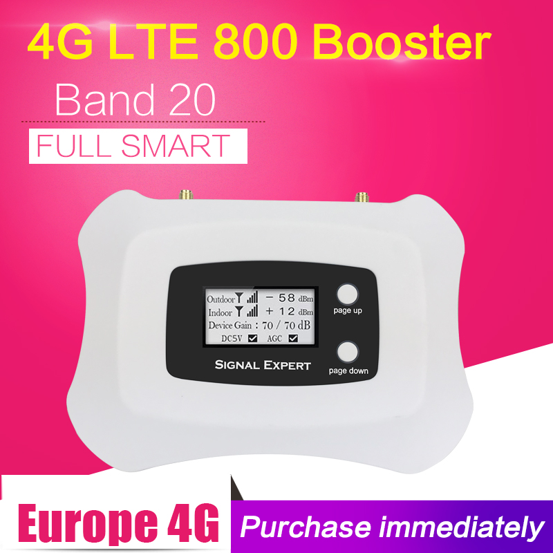 Repeatnet 4G LTE 800mhz B20 Cell Phone Signal Booster LTE Cellular Amplifier LCD Display 70dB Gain N Type Mobile Phone Repeater